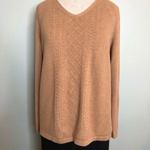 Talbots Camel/Tan V-Neck Sweater Size Large